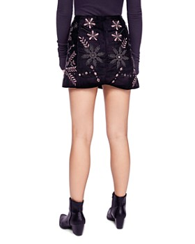 Free People - Bright Lights Embroidered Velvet Mini Skirt