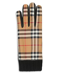 Burberry - Cashmere-Lined Leather-Trimmed Check Gloves