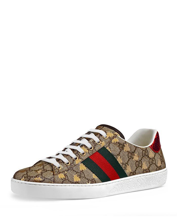 5e2fdf310ff Gucci Men s Ace GG Supreme Bees Leather Lace-Up Sneakers ...