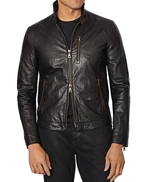Garment-Wash Slim Fit Leather Jacket