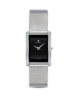 Movado - La Nouvelle Diamond Silver-Tone Mesh Watch, 21mm x 29mm