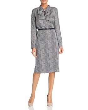 71f91d48a8460f Max Mara - Ponera Printed Tie-Neck Midi Dress ...
