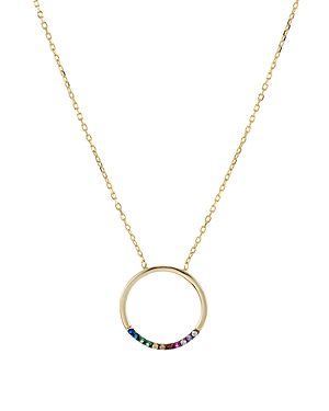 Aqua Open Circle Pendant Necklace in 18K Gold-Plated Sterling Silver, 16 - 100% Exclusive