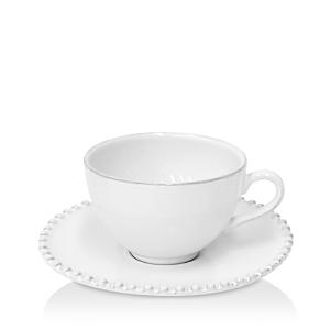 Costa Nova White Pearl Teacup & Saucer