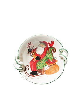 VIETRI - Old St. Nick Scalloped-Handle Bowl with Sleigh
