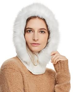 Echo - Faux Fur-Trim Hooded Scarf