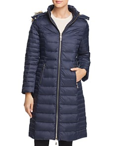 kate spade new york - Faux Fur Trim Hooded Puffer Coat