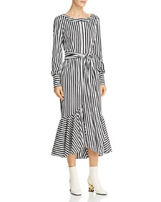 MILLY - Erica Striped Midi Dress