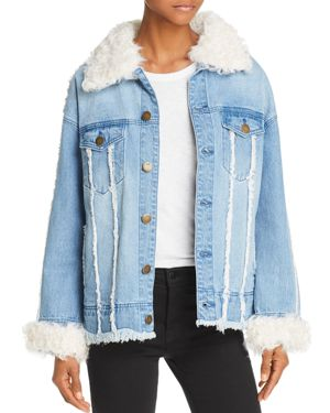 525 AMERICA Real Lamb Shearling Trimmed Denim Jacket