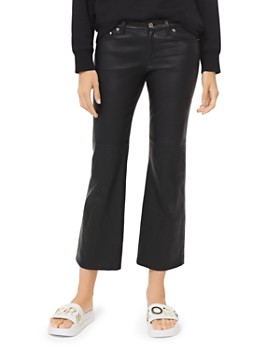 MICHAEL Michael Kors - Izzy Cropped Leather Flare Pants