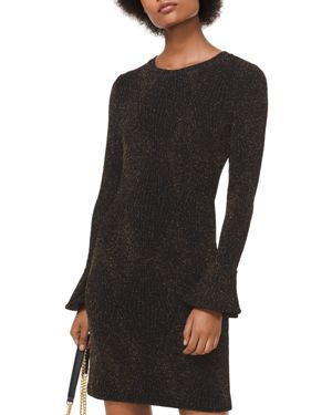 Michael Michael Kors Metallic Stretch-Knit Flare Cuff Dress