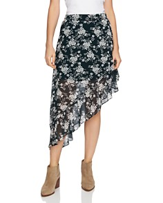 1.STATE - Floral Print Asymmetric Skirt