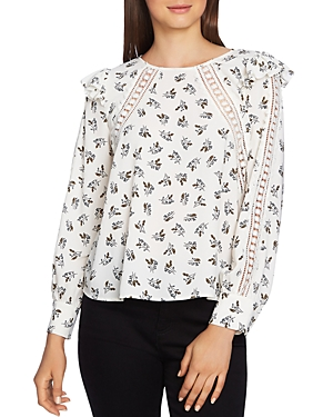 1.state Floral Lace-Inset Top