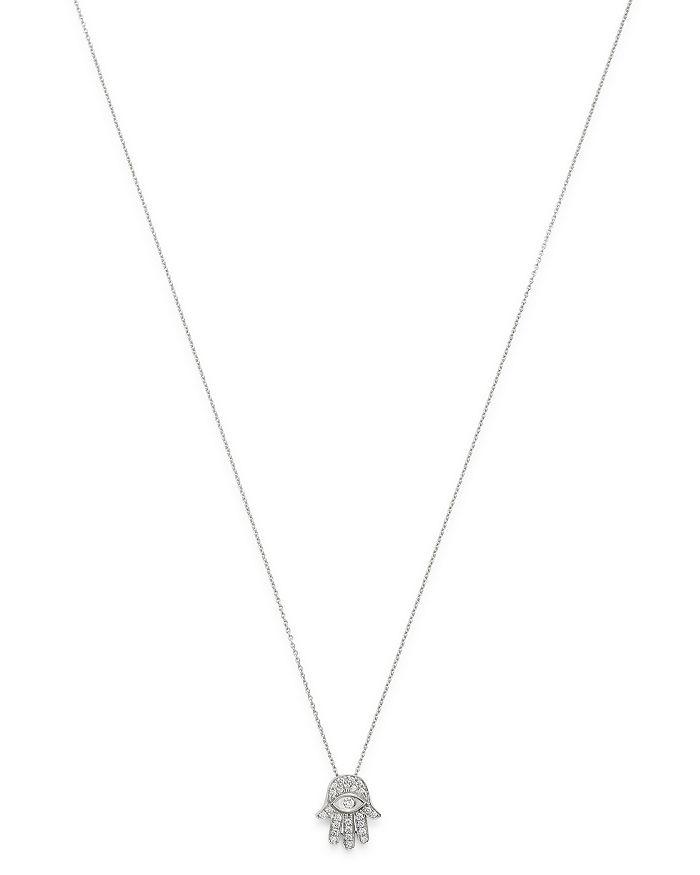 "Roberto Coin - 18K White Gold Diamond Hamsa Pendant Necklace, 18"""