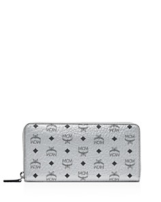 MCM - Zip Around Large Leather and Canvas Wallet