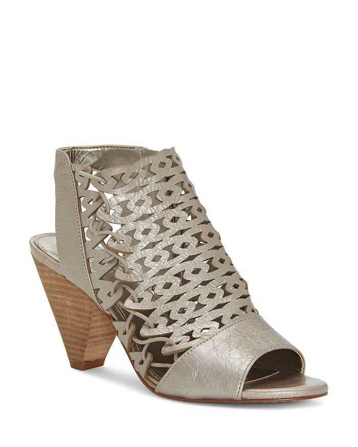 VINCE CAMUTO - Women's Emberla Perforated Leather Cone Heel Sandals