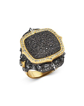 Armenta - 18K Yellow Gold & Sterling Silver Old World Pavé Diamond Pointed Cushion Ring with Multi Gemstones