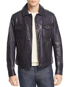 Michael Kors - Burnished Leather Trucker Jacket