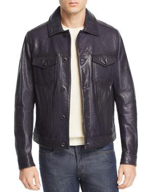 Michael Kors Burnished Leather Trucker Jacket