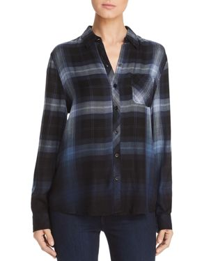 BEACHLUNCHLOUNGE Beachlunchlounge Plaid Button-Down Shirt in Night Sky