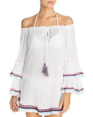 SURF GYPSY Zigzag Trim Tunic Swim Cover-Up in White/Light Pink