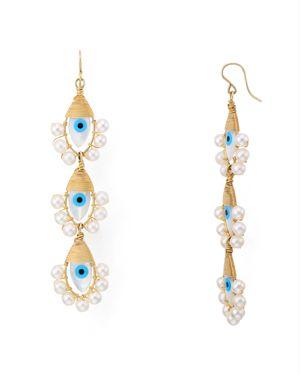 BECK JEWELS Lolita Evil Eye Linear Drop Earrings in Multi/Gold