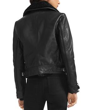 Maje - Basara Real Sheep Shearling-Collar Leather Moto Jacket