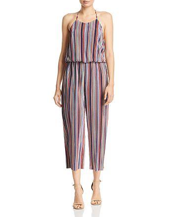 AQUA - Rainbow-Stripe Plissé Jumpsuit - 100% Exclusive