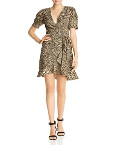 AQUA - Leopard Print Wrap Dress - 100% Exclusive