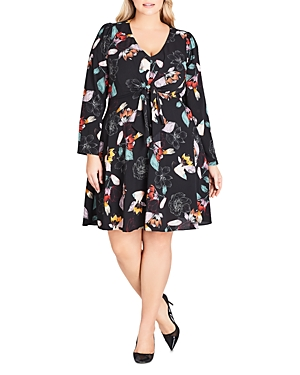 City Chic Plus Tie-Front Floral Dress