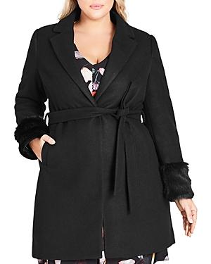 City Chic Plus Faux-Fur Cuff Wrap Coat