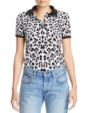 KSENIA SCHNAIDER Knit Leopard Top in Black/White
