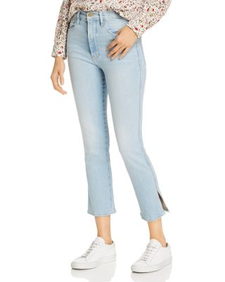 Le Sylvie Side Slit Cropped Straight Leg Jeans In Superstar by Frame