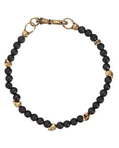 John Varvatos Collection - Lava Bead & Brass Skulls Bracelet