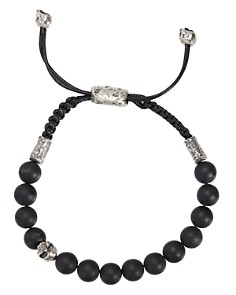 John Varvatos Collection - Sterling Silver Skull & Onyx Bead Adjustable Bracelet