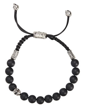 John Varvatos Collection - Sterling Silver Skull & Onyx Bead Adjustable Bracelet