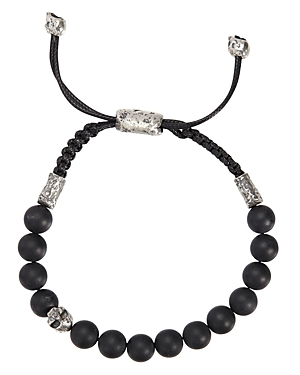 John Varvatos Collection Sterling Silver Skull & Onyx Bead Adjustable Bracelet