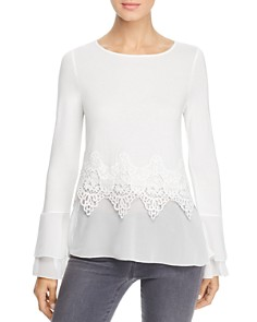 Design History - Mixed-Media Bell Sleeve Top