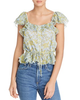 The East Order - Daphne Ruffled Botanical-Print Blouse
