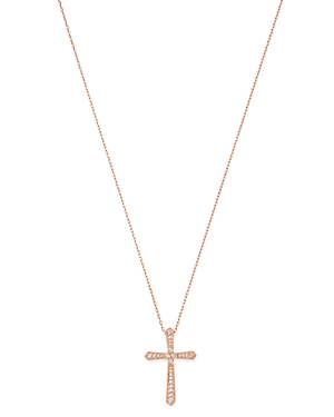 Bloomingdale's Diamond Milgrain Cross Pendant Necklace in 14K Rose Gold, 0.25 ct. t.w. - 100% Exclus