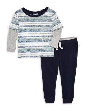 Splendid Boys' Reverse-Stripe Layered Tee & Jogger Pants Set - Baby