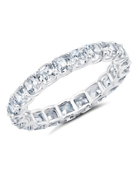 Crislu - Slim Eternity Ring in Platinum-Plated Sterling Silver