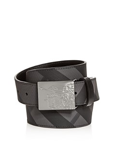Burberry - Plaque Buckle Check Leather Belt