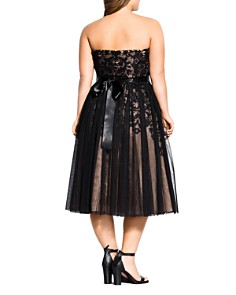 City Chic Plus - Tulle Overlay Belted Midi Dress