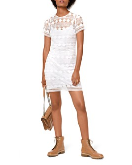 MICHAEL Michael Kors - Floral Embroidered Mesh Lace Dress