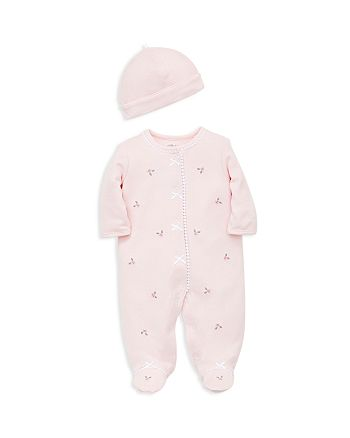 Little Me - Girls' Floral Footie & Cap Set - Baby