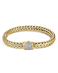 JOHN HARDY - 18K Yellow Gold Classic Chain Medium Bracelet with Diamond Pavé
