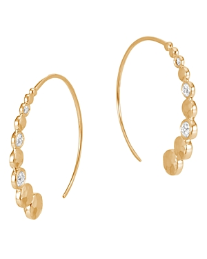 John Hardy 18K Yellow Gold Dot Hammered Small Hoop Earrings with Diamond Pave
