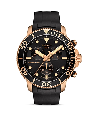 Tissot Seastar 1000 Black Dial & Rubber Strap Chronograph, 45.5mm-Jewelry & Accessories