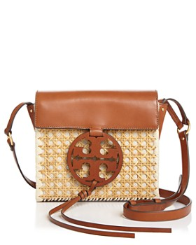 a44e3c3fc42 Tory Burch - Miller Rattan   Leather Crossbody ...